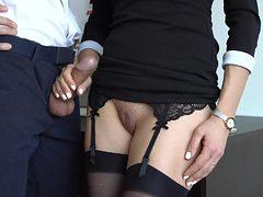 Sexy Secretary In Stockings Makes Boss Cum On Her Dress...