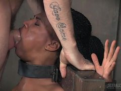 Hard mouth fucking of a bound black girl