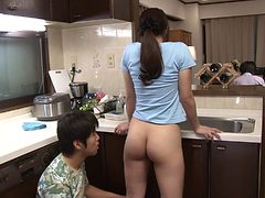 Porn online son and mother in the kitchen
