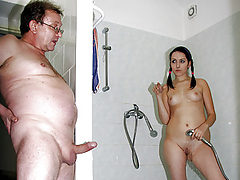 Old Man Fucks a Cock-Craving Brunette Teen In The Shower