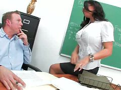 Insanely Busty Librarian Kerry Louise Gags On A Teacher...