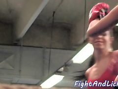 Amateur babes wrestling before scissoring