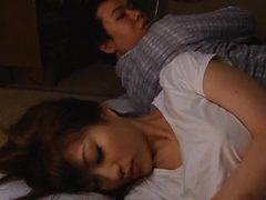 Unsatisfied Japanese Babe Masturbating Next To Her Slee...