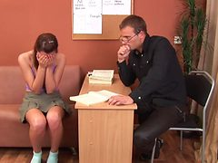Naughty teen has her nice ass spanked red by her tutor