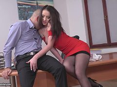 horny boss in lingerie owned on desk