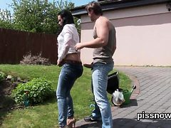 Staggered babe in undies is geeting pissed on and drilled