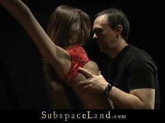 Slapping and whipping for a sexy dressed slave