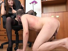 Office femdom spanking brunette hard