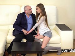 Erotic schoolgirl is seduced and nailed by older teache...
