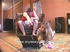 Petite Teen Daughter having Threesome with Old Man