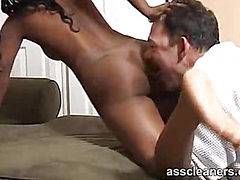 Ebony goes horny as her ass is licked