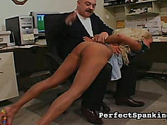 One black girl, one blonde, both spanked by boss.