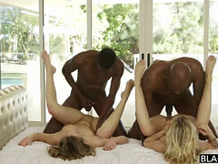 Sexy Blonde Teen Babes In Interracial Foursome