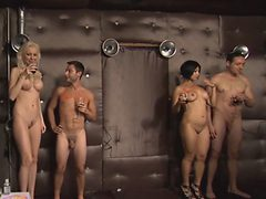 Tattooed nude blonde milf awesome shower orgy with youn...