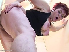 busty mature woman enjoying gloryhole cocks