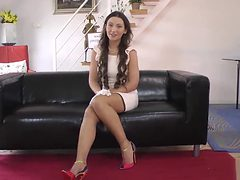 Classy euro beauty masturbates for old man