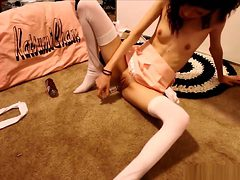 Skinny Schoolgirl Teases Us With Her Small Tits And Del...