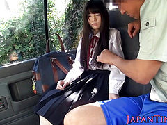 Tiny Japanese schoolgirl mouth fucked