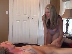 Stepmom helping son with the boner and cum