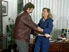 Hairy pussy slut fucked in her office