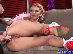 Lezdom mistress toying her subs asshole