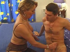 Busty French mom likes young cock