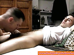 Seduced straight guys little dick sucked