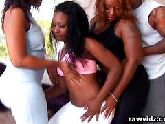3 Big Ass Ebonies Craves And Shares One Big Black Cock