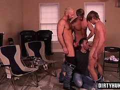 Muscle gay foursome with facial