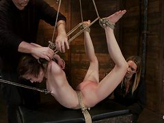 Severely Bound Into A Brutal Hogtie And Pulled To The B...