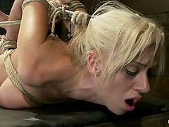 Hot blond with big tits, pony tails, and braces.Face fu...