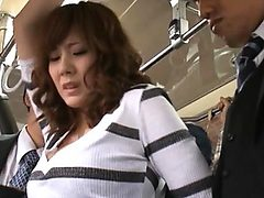 Yuma Asami riding the bus and having her minidress lift...