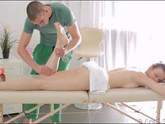 Lusty massage of her teen legs and ass