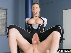 Human cyborg policewoman with big tits gets mind contro...