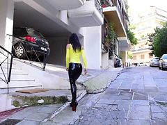 Latex Pencil Skirt Walking in extreme heels