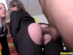 Two Blondes Fucking Like Mad At Work