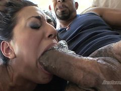 Slutty Layla Storm gags on a massive throbbing cock