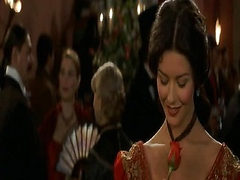 Catherine Zeta-Jones showing some nice cleavage in a wh...