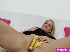 Leggy blonde beauty pervy nylon piss hole fetish