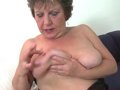 Granny is a fox in black fishnet stockings