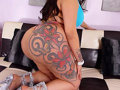 Big Booty Latina With Tattoos Stripping Naked