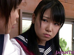 Young japanese schoolgirls sharing cock