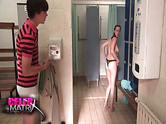 Siwan Morris naked in bathroom while a guy watches her....