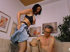 Mature man's cock fits perfectly in a cute brunette's p...