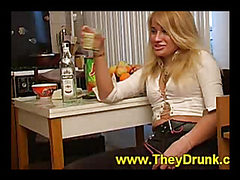 Blonde is drunk and horny