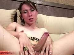 honeyed up shemale teases her ladystick until a loud cu...