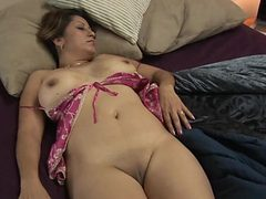 Fondling a stripping milf with marvelous tits
