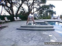 Cheerleader By The Pool a