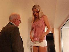 Blonde with a perfect body getting shagged by the matur...