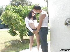 Horny Schoolgirl Sucking Four Cocks